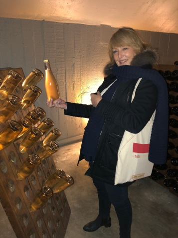 Catherine Curie at Piper-Heidsieck shows us a pupitre, where hand-riddling used to be done.